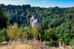 Medieval Reinhardstein fortification Eupen, Belgium. The medievel Reinhardstein fortification and castle near Robertville and Eupen in the German Speaking Royalty Free Stock Images