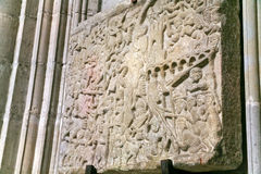 Medieval Relief Depicting the Siege of Carcassonne Stock Photos