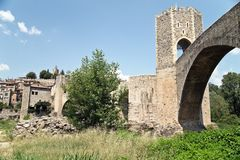 The medieval remains of Besalu Stock Photography