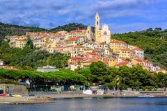 Medieval resort town Cervo on italian Riviera, Liguria, Italy Stock Image