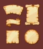 Medieval retro Yellowish Blank Scrolls Stock Images