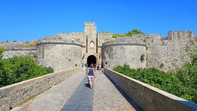 Rhodes castle bastion. Medieval Rhodes castle bastion and one of castle`s gate royalty free stock photo