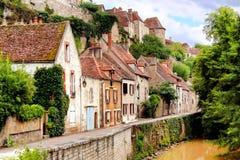 Medieval riverside houses, Semur en Auxois, Burgundy, France Royalty Free Stock Image