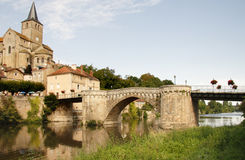 Medieval Riverside Village in France Stock Photos