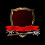 Medieval riveted shield with maces and red ribbon. Medieval golden shield with riveted border,red ribbon and two maces on black background Royalty Free Stock Image