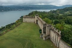 Medieval Rocca di Angera castle, lake Maggiore. Italy stock photography