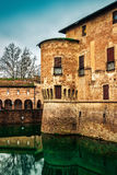 Medieval Rocca Sanvitale castle. Stronghold of medieval Rocca Sanvitale castle with fosse in Fontanellato, Emilia-Romagna, Italy Stock Photography