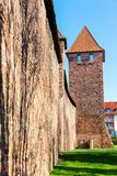 Medieval Roman city wall with towers in Worms, Germany. Picture of the medieval Roman city wall with towers in Worms, Germany royalty free stock image