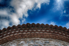 Medieval roof clay titles. In a cirular fashion Stock Photography