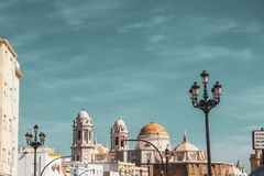 Medieval roof and sky in Cadiz stock photography