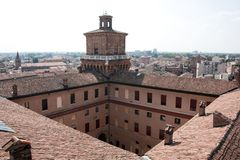 Medieval roofs in ferrara city Royalty Free Stock Photography