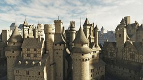 Medieval Rooftops. Medieval or fantasy town rooftops, 3d digitally rendered illustration Royalty Free Stock Photo