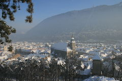 Medieval rooftops of Brasov in winter. royalty free stock photos