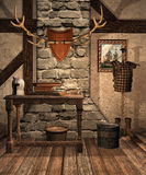 Medieval room with old objects Royalty Free Stock Images