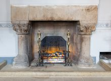 Medieval room of Stirling Castle with marble hearth and fireplace. Stirling Castle, Scotland - May 19 2018: Medieval room of Stirling Castle with marble hearth stock image