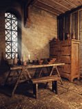 Medieval room with wooden furniture Royalty Free Stock Photos