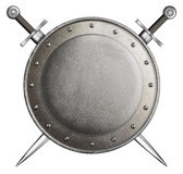 Medieval round shield with two swords isolated Royalty Free Stock Photo