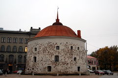 Medieval Round Tower in Vyborg, Russia Stock Images