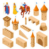 Medieval Royal Castle Isometric Set Stock Photo