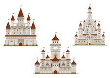 Medieval royal castle and palaces. Medieval royal castle or fort, palace or stronghold with towers and archs, gates and flags on spires. Cartoon flat style Royalty Free Stock Images