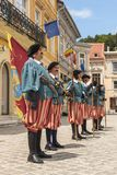 Medieval royal guards in Brasov, Romania Royalty Free Stock Photos