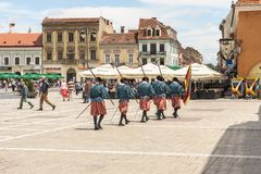 Medieval royal guards in Brasov, Romania Stock Images