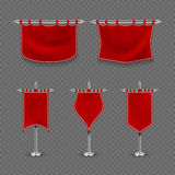 Medieval royalty, king fabric red flag banner vector set Stock Photos