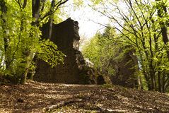 Medieval Ruin of a Castle. In the Eifel, Germany Stock Image