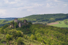 Medieval Ruin of a Castle. In the Eifel, Germany Stock Photos