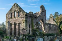 Mysterious ruins of an ancient abbey church and graveyard royalty free stock image