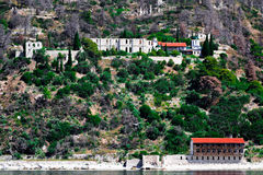 Medieval ruins of New Thebais monastery at Mount Athos Greece Royalty Free Stock Images