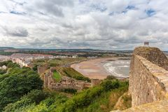 Scarborough Castle, a former medieval Royal fortress. stock image