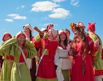 Medieval russian minstrels Stock Photos