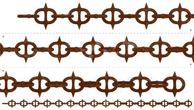 Medieval rust spiky chain seamless. Rustic sharp spikes metal chain. Isolated 3D rusty chains repeatable endlessly. Fictional weapon. PNG with transparent Royalty Free Stock Photos