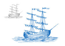 Medieval sail ship in ocean waves Royalty Free Stock Images