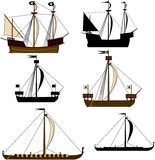 Medieval Sailing Ships Royalty Free Stock Photos