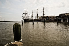 Medieval sailing ships in harbor Stock Photography