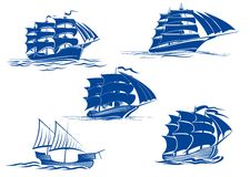 Medieval sailing ships icons Stock Photo