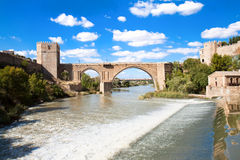 Medieval San Martin bridge - Toledo, Spain Royalty Free Stock Photography