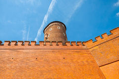 Medieval Sandomierska tower at Royal Wawel Castle as a part of most important historical complex in Krakow, Poland Stock Photo