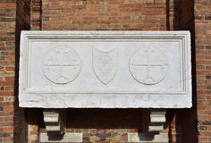 Medieval sarcophagus in Venice stock photo