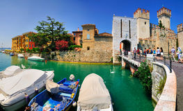 Sirmione, Lake Garda, Italy. The medieval Scaliger Castle (Castello Scaligero / Rocca Scaligera) in Sirmione, a small town on the shores of Lake Garda (Lago di Royalty Free Stock Image