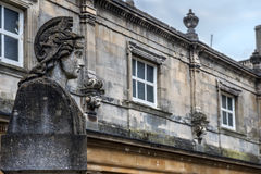 Medieval scenery of the city Bath, Somerset, England. Medieval landscape with old stone statue of the city Bath, Somerset, England royalty free stock photo