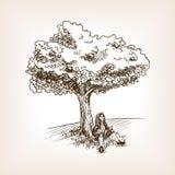 Medieval scientist apple tree sketch vector. Medieval scientist under the apple tree sketch style vector illustration. Old hand drawn engraving imitation vector illustration