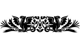 Medieval Scotch pattern. Medieval pattern with bizarre creatures look like dragons and thistle as a Scotch national symbol. Good as an armband tattoo vector illustration