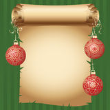 Medieval scroll paper and different vintage gold design Christmas balls on bright ribbon. Vector New Year greeting card Stock Photo