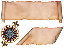 Medieval scroll and wind rose sign. Royalty Free Stock Images