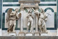 Medieval sculptural composition. Fragment of the scenery of the Cathedral of Santa Maria del Fiore. Florence. Italy royalty free stock photos