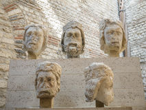 Medieval sculpture fragments in Musee Cluny, Paris Royalty Free Stock Images