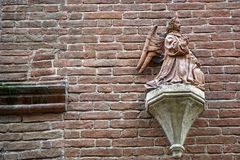 Medieval sculptures on Wall, decorated building with mythical creatures. Medieval sculptures on Wall, decorated building with mythical creatures royalty free stock photos